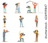 news program crew of... | Shutterstock .eps vector #626959847