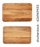 Small photo of new rectangular wooden cutting board, top view, isolated