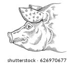 pig head engraving vector... | Shutterstock .eps vector #626970677