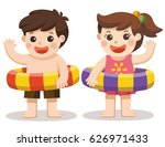 two little kids say hi in... | Shutterstock .eps vector #626971433