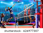 professional volleyball players ... | Shutterstock . vector #626977307