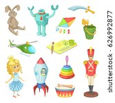 cartoon set of toys for kids... | Shutterstock .eps vector #626992877