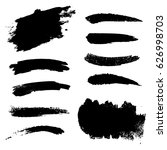 set of black paint  ink brush... | Shutterstock .eps vector #626998703