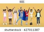 diversity of children playful... | Shutterstock . vector #627011387