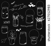 mason jars hand drawn... | Shutterstock .eps vector #627012983