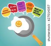 morning concept. smile frie egg ... | Shutterstock .eps vector #627014357