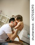 happy father spending time with ... | Shutterstock . vector #627018293