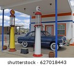 vintage gas station on route 66 ... | Shutterstock . vector #627018443