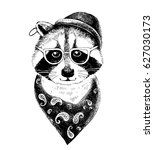 hand drawn dressed up raccoon... | Shutterstock .eps vector #627030173