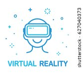 virtual reality illustration.... | Shutterstock .eps vector #627040373