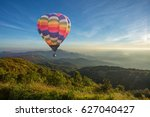 colorful hot air balloon over... | Shutterstock . vector #627040427