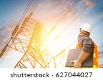 electric engineer check the... | Shutterstock . vector #627044027