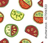 seamless vector hand drawn... | Shutterstock .eps vector #627046523