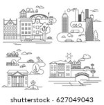 city design elements. linear... | Shutterstock .eps vector #627049043