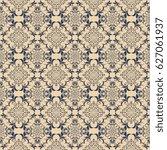 seamless blue ornament on brown ... | Shutterstock .eps vector #627061937