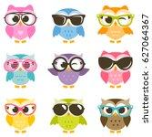 Set Of Cartoon Colorful Owls...