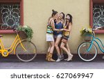 happy boho chic stylish girls... | Shutterstock . vector #627069947