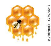 honeycombs with bee gradient... | Shutterstock .eps vector #627070043