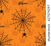 happy halloween seamless... | Shutterstock .eps vector #627074297