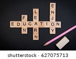 wood block education word over... | Shutterstock . vector #627075713