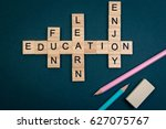 wood block education word over... | Shutterstock . vector #627075767