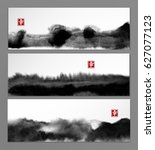 banners with abstract black ink ... | Shutterstock .eps vector #627077123