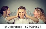 two young women screaming at a... | Shutterstock . vector #627084617