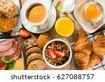 breakfast of coffee  juice ... | Shutterstock . vector #627088757