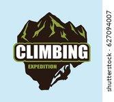 extreme rock climbing logo...   Shutterstock .eps vector #627094007