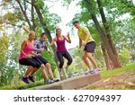 group of people doing a outdoor ... | Shutterstock . vector #627094397