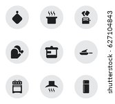 set of 9 editable meal icons.... | Shutterstock .eps vector #627104843