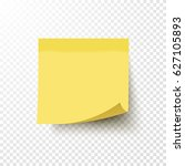 yellow sticky note with curled... | Shutterstock .eps vector #627105893