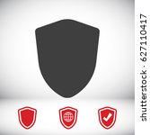 shield icon  stock vector... | Shutterstock .eps vector #627110417