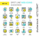 vector set of seo and web... | Shutterstock .eps vector #627115847