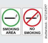 the signs no smoking and... | Shutterstock .eps vector #627119297