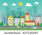 urban landscape flat...   Shutterstock . vector #627120293