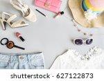 fashion summer women clothes... | Shutterstock . vector #627122873