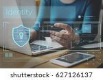 data security system shield...   Shutterstock . vector #627126137