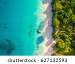 aerial  anse lazio  praslin... | Shutterstock . vector #627132593