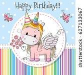 greeting card cute cartoon...   Shutterstock .eps vector #627133067