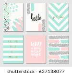 a set of abstract design cards... | Shutterstock .eps vector #627138077