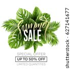 sale banner  poster with palm... | Shutterstock .eps vector #627141677