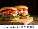 home made hamburger with beef ... | Shutterstock . vector #627142487