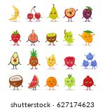 set of funny cute cartoon... | Shutterstock .eps vector #627174623