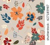 vintage flowers  berries and... | Shutterstock .eps vector #627185987