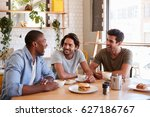 three male friends meeting for... | Shutterstock . vector #627186767