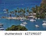 marigot bay  saint lucia ... | Shutterstock . vector #627198107