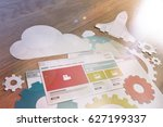 web design and development... | Shutterstock . vector #627199337