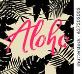 tropical background with text | Shutterstock .eps vector #627203003