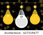 light bulb infographic on black ... | Shutterstock .eps vector #627219677